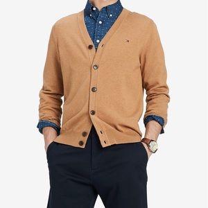 TOMMY HILFIGER Mens Cardigan Sweater Camel